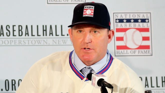 Baseball Hall of Fame inductee Jim Thome responds to questions during news conference Thursday, Jan. 25, 2018, in New York. (AP Photo/Frank Franklin II)