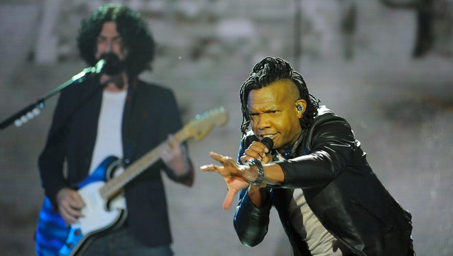 """Michael Tait of the Newsboys performed """"God's Not Dead"""" to open the 45th annual GMA Dove Awards at Lipscomb's Allen Arena in Nashville, Oct. 7, 2017. He is scheduled to sing the hits of Nat King Cole for the Friday, Feb. 2, 2018, Rodeo & Juliet show at Franklin Theatre."""