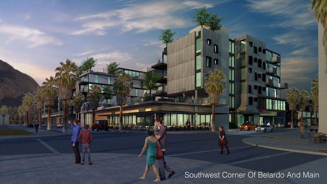 An architect's sketch of the newest hotel proposed for downtown Palm Springs.