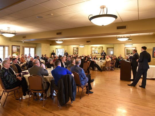 U.S. Congressman Charlie Dent and U.S. Congressman Ryan Costello spoke to local service organizations at the Lebanon Country Club Wednesday afternoon, Nov. 23. The representatives took questions on a variety of topics.