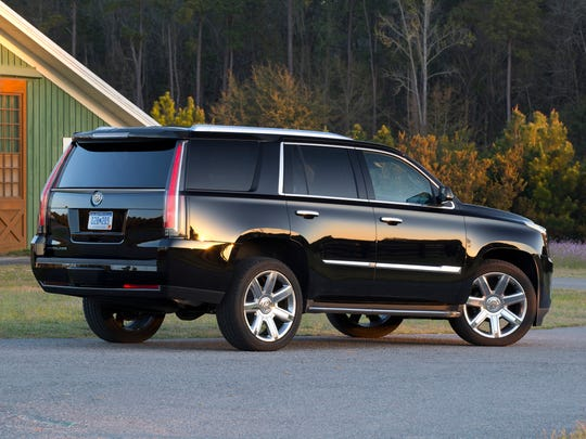 The seven-passenger 2015 Cadillac Escalade is powered by a 420-horsepower 6.2-liter V8, six-speed automatic transmission.