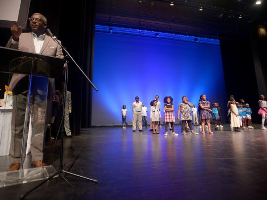 Tony Black, director of parks and recreation, gives remarks at the conclusion of the eighth annual Jackson Idol Summer Youth Talent Showcase on Thursday.