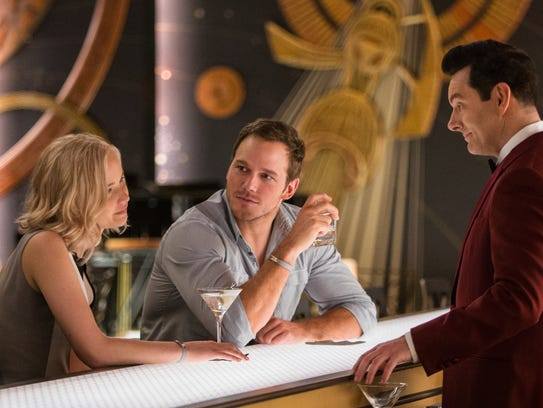 "In ""Passengers,"" Aurora (Jennifer Lawrence) and Jim"