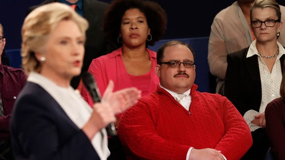 Kenneth Bone listens as Democratic presidential nominee