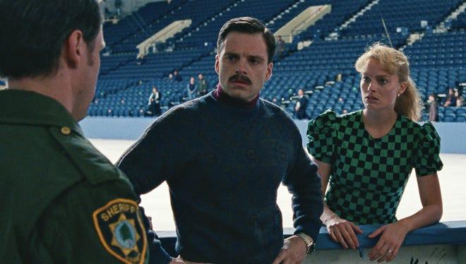 "Margot Robbie, right, and Sebastian Stan, as Tonya Harding and Jeff Gillooly in ""I, Tonya."""