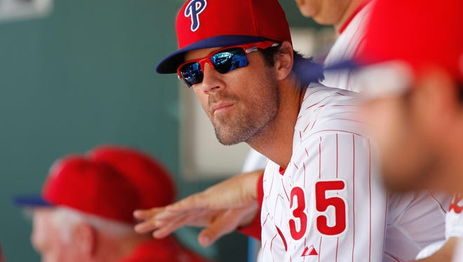 Phillies pitcher Cole Hamels (35) looks on in the dugout during a spring training baseball game March 3 at Bright House Field. Credit: Kim Klement-USA TODAY Sports