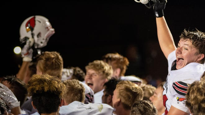 Members of the Stillman Valley football team celebrate on Sept. 6, 2019, after defeating Byron 18-16. The conference has released a spring football schedule that kicks off on March 6.