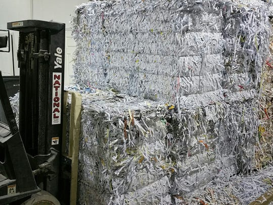 Shredded paper at Southeast Secure Shredding's facility