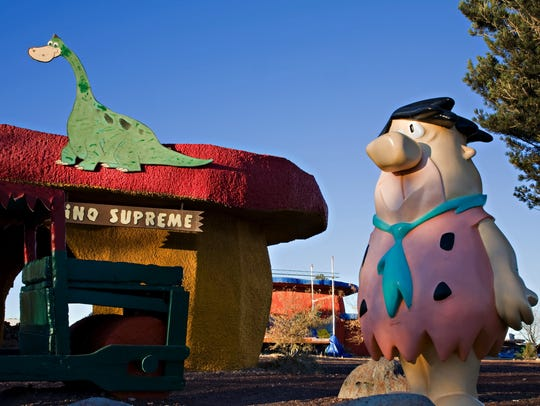 Visit with Fred Flintstone in Bedrock City.