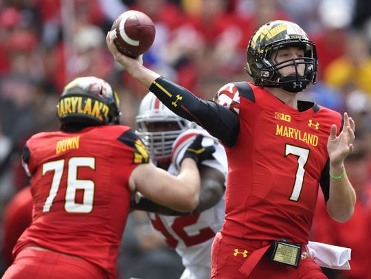 Maryland Terrapins quarterback Caleb Rowe (7) throws