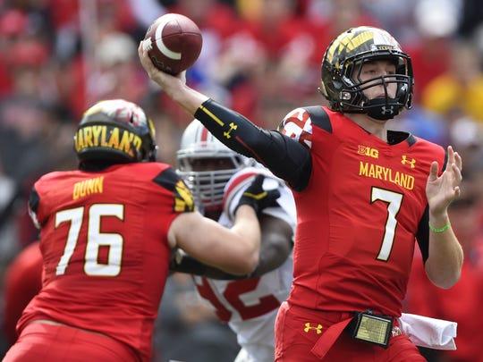 Maryland Terrapins quarterback Caleb Rowe (7) throws during the third quarter against the Ohio State Buckeyes at Byrd Stadium last season.