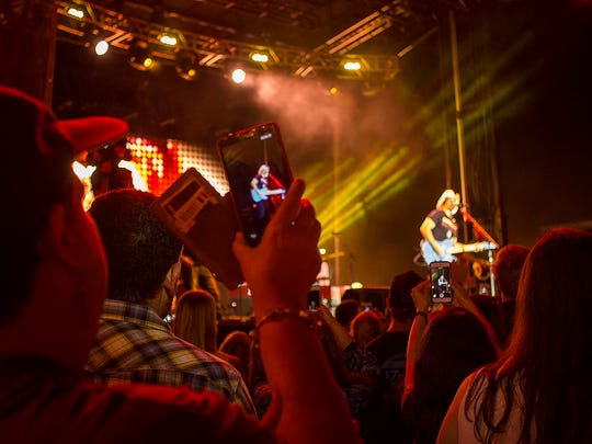 Country singer, Brad Paisley, in concert outside of Doak Campbell Stadium on Langford Green on October 8, 2015.