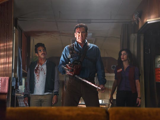 Ray Santiago, left, Bruce Campbell and Dana DeLorenzo