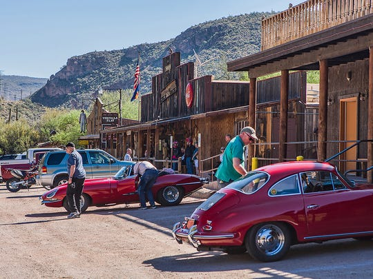 The rebuilt Tortilla Flat remains a popular stop for motorists. The site originally was a camping area for prospectors in the Superstition Wilderness.