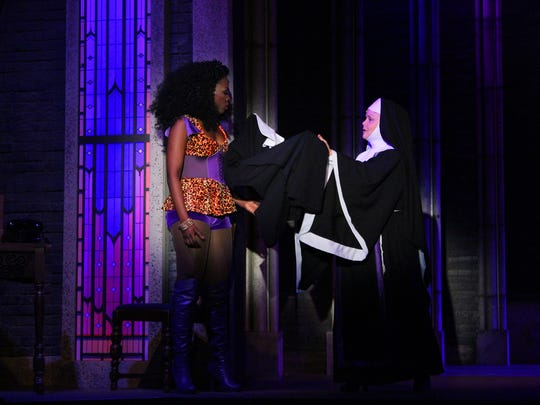 "Housso Semon (left) and Jama Bowen in a scene from Broadway Palm's ""Sister Act"""