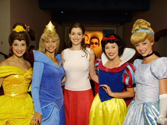Belle (l), Sleeping Beauty, Anne Hathaway, Snow White