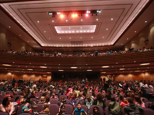 W. K. Kellogg Auditorium was filled with roughly 1,700 students from Battle Creek elementary schools Wednesday morning to watch and listen to pianist Terrence Wilson of The Gilmore Keyboard Festival.