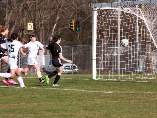 Lakeview's Ana Singh scores a goal against Pennfield