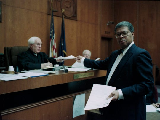 In this photo provided by the Archives of Michigan, Stuart Dunnings III is seen in court in December 1996, days before beginning a nearly 20-year career as prosecutor of Ingham County.
