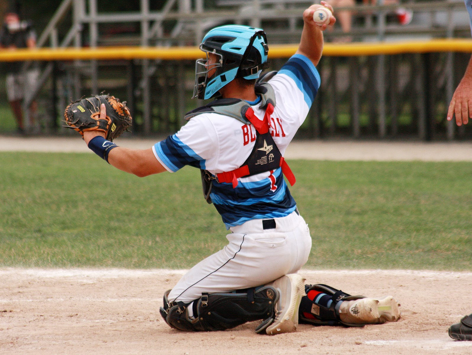 Catcher Drew Blakely, formerly of Gull Lake, plays for Midwest Athletics in Connie Mack regional on Thursday afternoon at Bailey Park