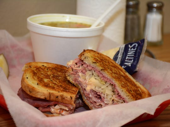 A grilled Reuben with dill pickles and chicken noodle soup. The Original Big Al's, in the Pelican Plaza on Bald Eagle Drive, is a popular lunch spot, but only on Monday through Friday until the season.