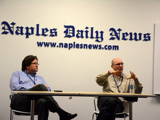 Daily News publisher Bill Barker, left, and regional editor Manny Garcia conduct a Q&A session with the Leadership Marco class of 2016. Members toured the Naples Daily News headquarters on Immokalee Rd. in Naples on Wednesday as part of their Media Day outing.