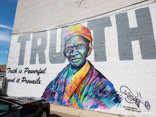 The Sojourner Truth piece was the first wall mural to go up for Color the Creek.