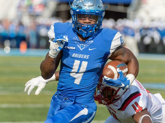 MTSU running back I'Tavius Mathers (4) could hear his name called this weekend.