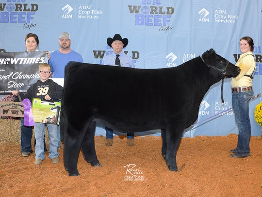 Grand Champion Market Steer was exhibited by Lacey Schmitz of Oakes, ND