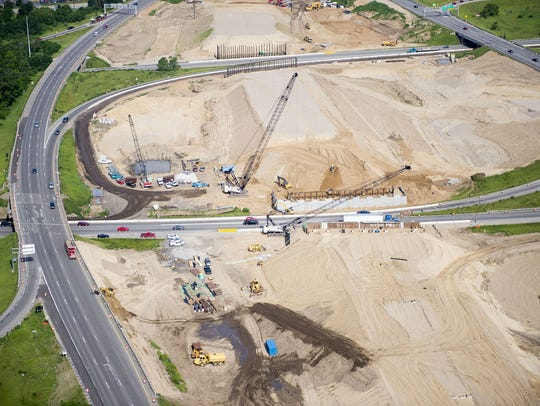 This 2015 aerial image shows the scope of the work