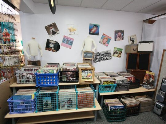 The vinyl record room within 9 Lives Vintage and Thrift