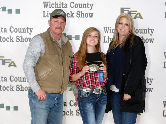 Wichita County Junior Livestock Show. The Grand Champion Pen of Chickens was shown by Jennifer Johnston, Wichita Falls FFA. The buyer was Owens and Brumley Funeral Home. Photos courtesy of Dwayne Peirce.