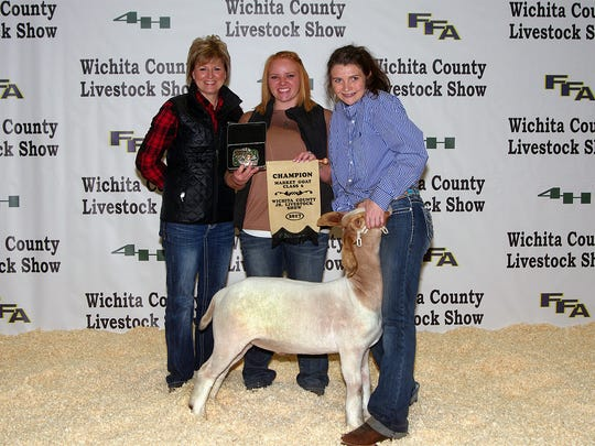 Wichita County Junior Livestock Show. The Grand Champion Meat Goat was shown by Bailee Owen of Wichita Falls FFA. The buyer was Patterson Auto, Wichita Livestock Sales, Kelly Propane, Willow Bend Investments, D&S Cattle, Holliday Feed & Seed, and Robert A Baumer Construction. Photos courtesy of Dwayne Peirce.