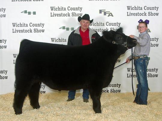 Wichita County Junior Livestock Show. The Grand Champion Steer  was shown by Addie Potts, Burkburnett FFA. The buyer was Rick Bradley of Bradley Industrial Coatings. Photos courtesy of Dwayne Peirce.