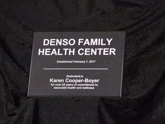 The Denso Family Health Center in Battle Creek, which opens next week, is dedicated to longtime company employee Karen Cooper-Boyer. Cooper-Boyer, the former vice president of general administration, retired from the company last year.