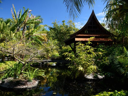 The Balinese pagoda is part of the Asian Garden at