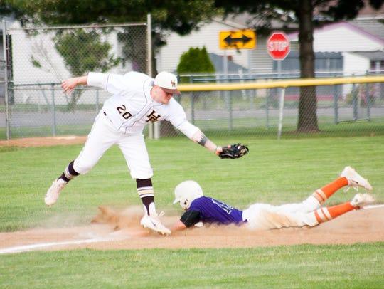 Lakeview's Ethan Eldridge, steals third base Tuesday