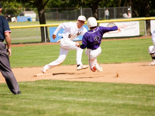 Lakeview 's Zach Dehn slides into second base Tuesday