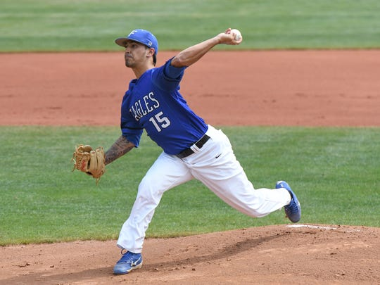 Ivan Pelaez books one of his six strikeouts against Oklahoma City last Wednesday at the NAIA World Series in Lewiston, Idaho.