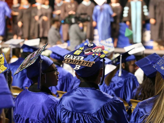 The Bowie High School Class of 2017 held its graduation at the Don Haskins Center. EPISD trustees are considering ending a graduation requirement in which students need 120 hours of community service in order to participate in their graduation ceremonies.
