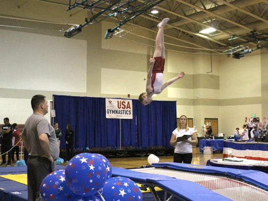 West Fowler competes in the trampoline gymnastics event