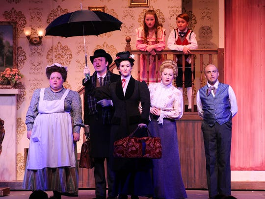 Mary Poppins arrives in this scene from rehearsals.