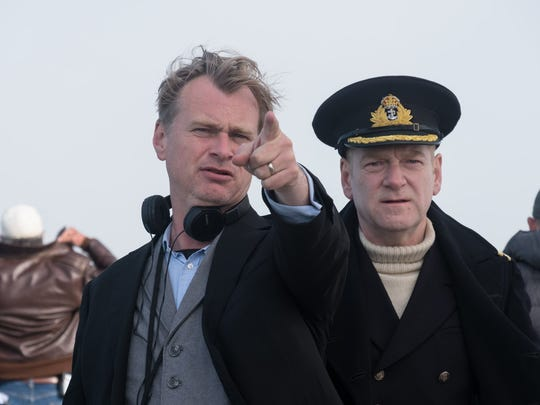 Christopher Nolan gives instruction to Kenneth Branagh on the set of 'Dunkirk.'
