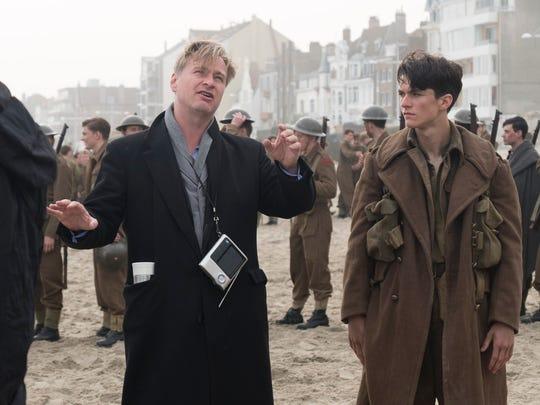 Christopher Nolan and Fionn Whitehead on the set of
