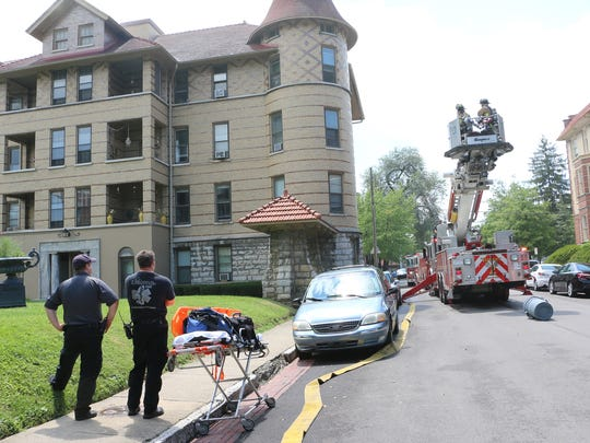 Apartment building fire caused by lightning strike.