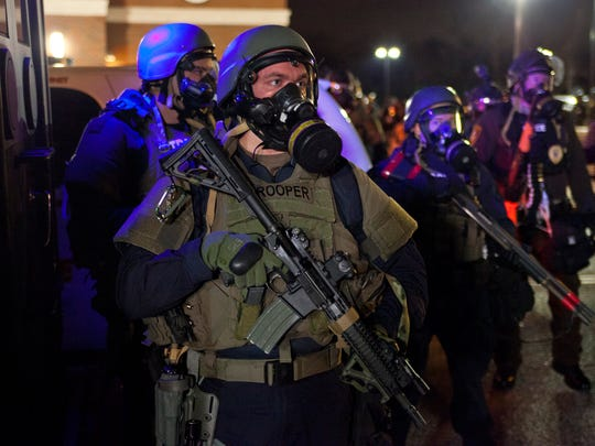 Riot police in Ferguson, Missouri, in 'Whose Streets?' documentary.