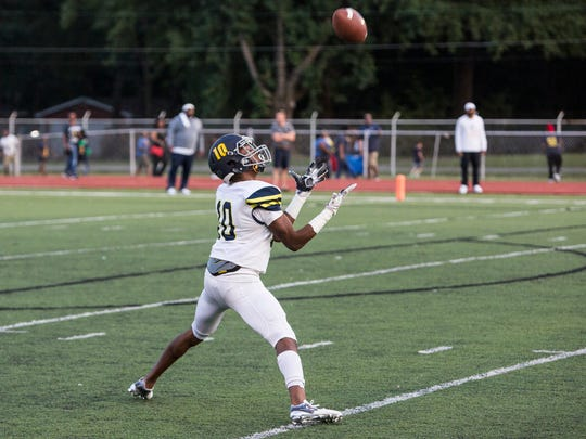 September 08, 2017 - Lausanne's Devin Boddie Jr. receives a punt during Friday night's game at Whitehaven High School.