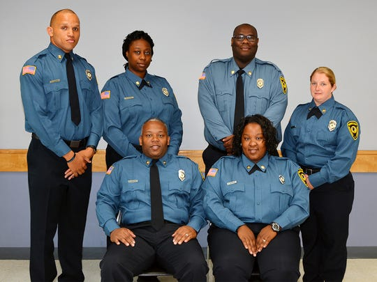 Officers from the Wicomico County Department of Corrections who graduated in the 99th entrance-level class of the Eastern Shore Criminal Justice Academy operated by Wor-Wic Community College in Salisbury are shown, in the front row from left, Robert D. Cropper and Jerrica D. Cuffee. In the back row, from left, are Ashad W. Duncan, Lakeya S. Jones, Antionne M. Pugh and Andrea M. Russell.