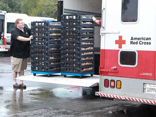 American Red Cross unloads bread at FSU.