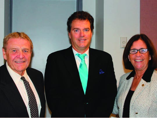 Union County College Board of Trustees Chair Victor M. Richel, new board Gov. Hugh C. Welsh and Union County College President Margaret M. McMenamin.